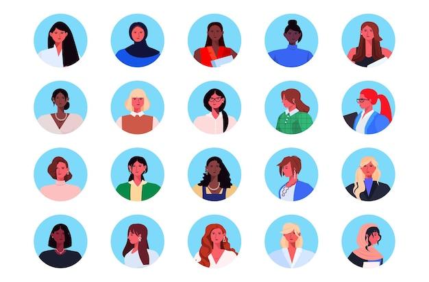 Definir mulheres de negócios de raça mista em trajes formais liderança de avatares de mulheres de negócios de sucesso