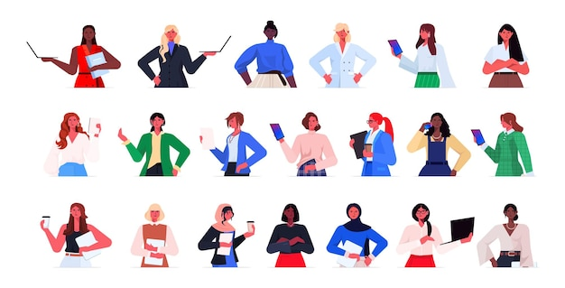 Definir mulheres de negócios de raça mista em trajes formais liderança de mulheres de negócios de sucesso