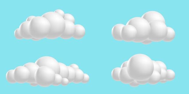 Definir nuvens fofas 3d mesh cartoon ícones de coleção de nuvens de renderização suave
