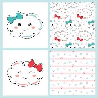 Definir nuvens fofas de desenhos animados e padrões sem emenda em fundo branco