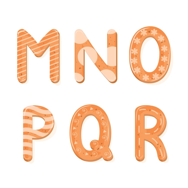 Definir o alfabeto dos desenhos animados de biscoitos de gengibre de alfabeto de natal ou ano novo com esmalte.