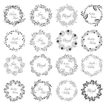 Definir o convite de moldura floral de quadro