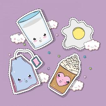 Definir o copo de leite kawaii com ovo e tag venda