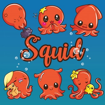 Definir o desenho animado bonito lula. conceito de animais dos desenhos animados.