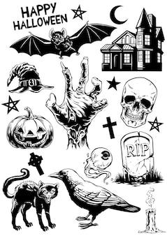 Definir o desenho de halloween de objetos de halloween em preto e branco