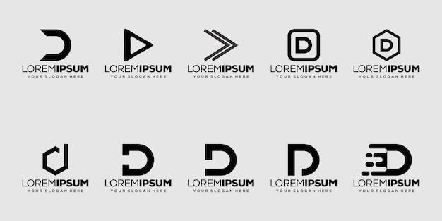 Definir o design do logotipo da letra d inicial do pacote