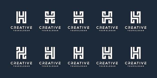 Definir o design do logotipo da letra h do pacote