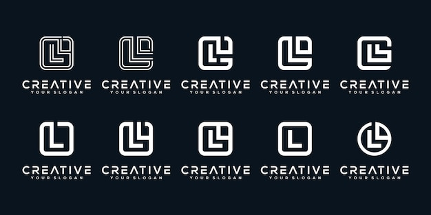 Definir o design do logotipo da letra l inicial do pacote