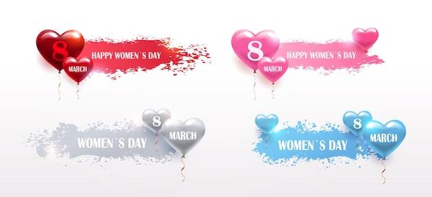 Definir o dia das mulheres, 8 de março, feriado, celebração, banners, folhetos ou cartões com balões de ar, pincelada ilustração horizontal