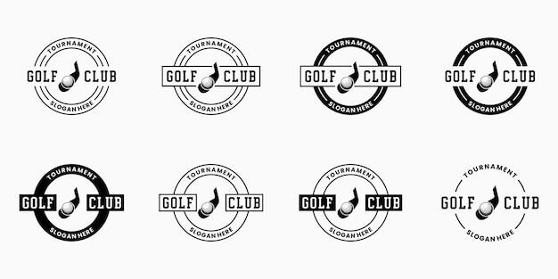 Definir o emblema do design do logotipo do clube de golfe em estilo retro