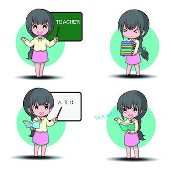 Definir o estilo de personagem de desenho animado bonito professor.