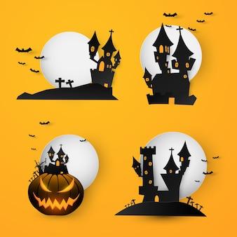 Definir o fundo de banner de texto de halloween de castelo