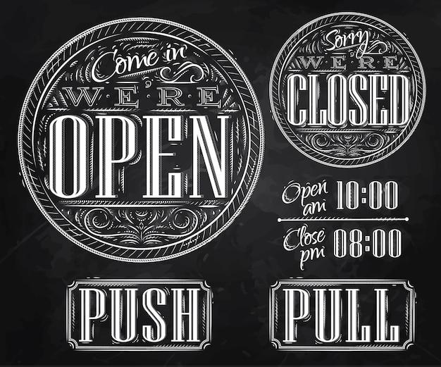 Definir o giz fechado aberto vintage