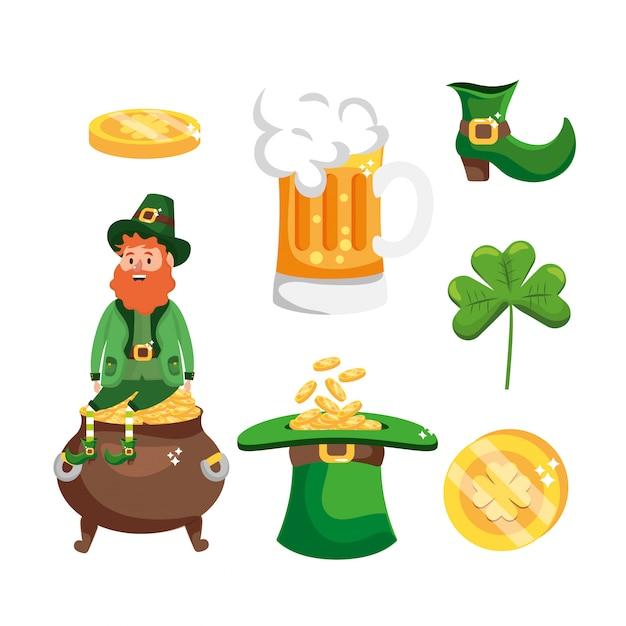 Definir o homem de st patrick com cerveja e caldeirão para celebração