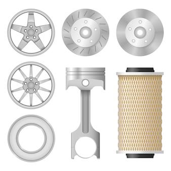 Definir o ícone de autopeças. colecção para reparação de automóveis