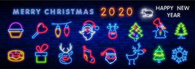 Definir o ícone de natal de néon, etiqueta, emblema. placa brilhante, faixa de luz.