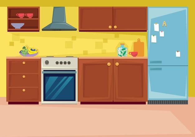 Definir o interior da cozinha, móveis e utensílios domésticos na sala de jantar. ilustração vetorial