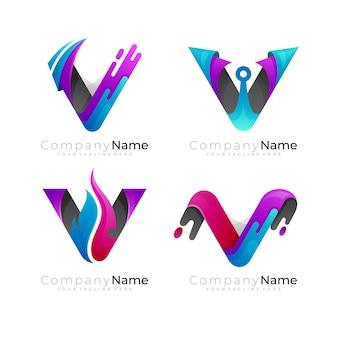 Definir o logotipo da letra v com logotipos coloridos em 3d combinados