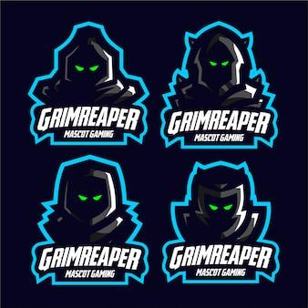 Definir o logotipo de jogo de mascote sombrio reaper