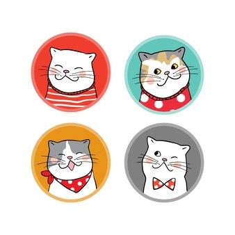 Definir o logotipo do estilo de doodle desenhar gato