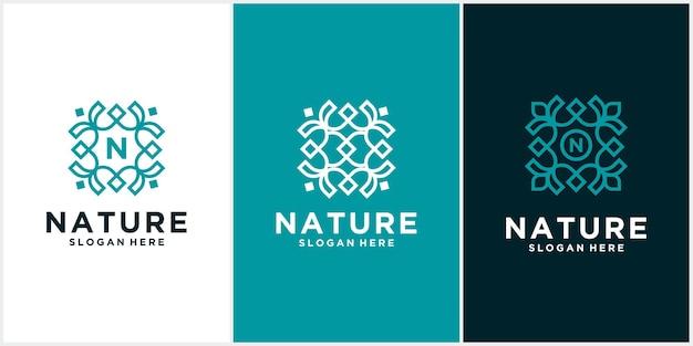 Definir o logotipo do ornamento da folha da natureza simples.