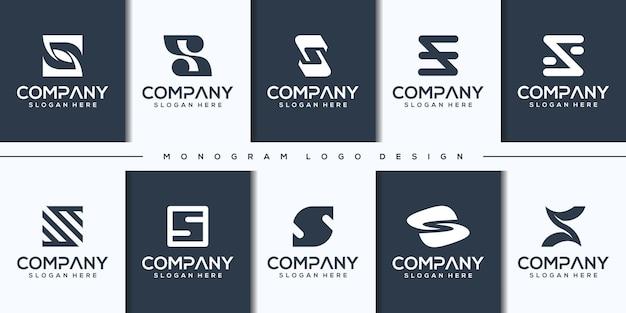Definir o modelo de logotipo da letra moderna abstrata