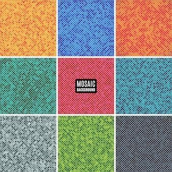 Definir o mosaico abstrato de fundo da grade de pixels padrão e quadrados de cores diferentes. ilustração conservada em estoque