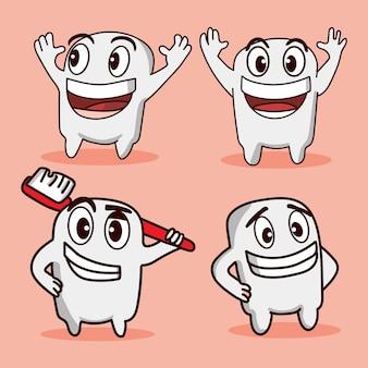 Definir o pacote de dente bonito e dente de escova com diferentes poses