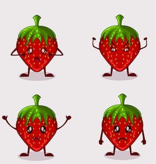 Definir o personagem morango fofo da ilustração