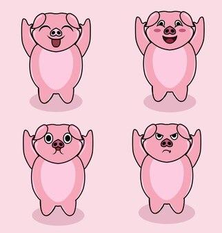 Definir o personagem porco fofo da ilustração