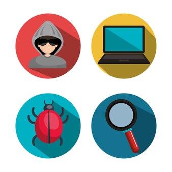 Definir o sistema hackeado de vírus de coleção