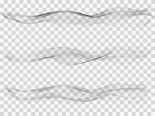 Definir onda de fumaça cinza abstrata. onda transparente.