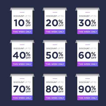 Definir pacote de desconto de etiqueta de vendas