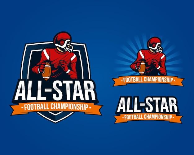 Definir pacotes mascote logotipo ilustração campeonato de futebol americano