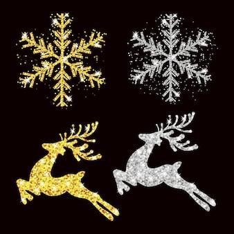 Definir padrão de natal e ano novo veado de ouro e prata, flocos de neve.