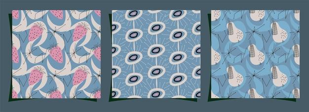Definir padrão geométrico sem costura de midcentury design de estilo moderno com abstração e morangos