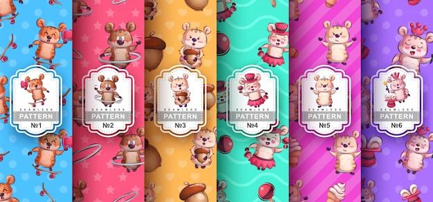 Definir padrão sem emenda animal de hamster e personagem de desenho animado