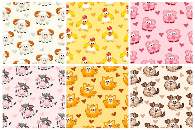 Definir padrão sem emenda de animais da fazenda, dos desenhos animados