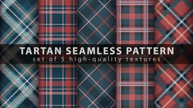 Definir padrão sem emenda de têxteis de tartan. sorteio de mão