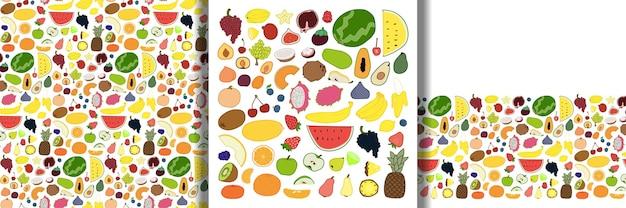 Definir padrão sem emenda e borda definida com elementos de frutas desenhados à mão papel de parede de contorno vegetariano