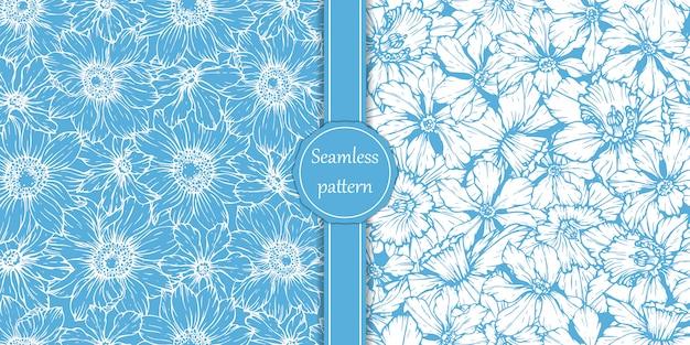 Definir padrões com narcisos e anêmonas. flores da primavera.