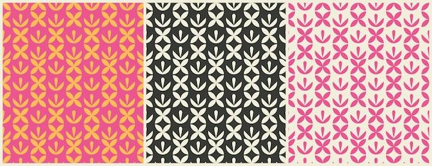 Definir padrões de desenho geométrico sem emenda. padrões ou plano de fundo para papel de embrulho ou pacote e salões de beleza. simplesmente enfeite.