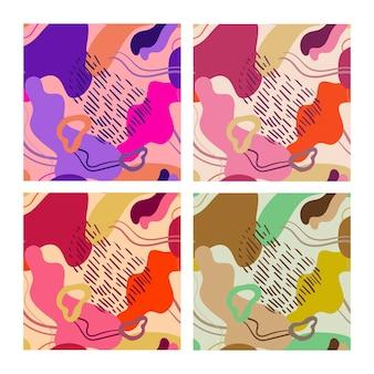 Definir padrões de vetores abstratos sem costura, manchas camuflar cores roxas de fundo abstrato