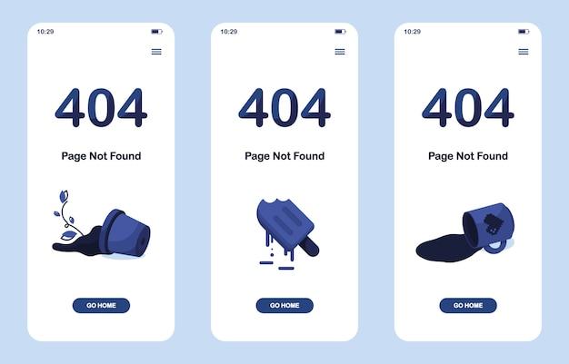 Definir página de erro 404 não encontrada. versão móvel. pote quebrado com flor. derretendo sorvete ou suco congelado. xícara de chá ou café derramada. para o site. modelo da web. azul