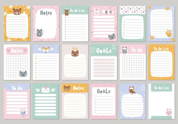 Definir páginas para caderno com animais fofos