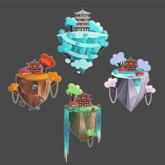 Definir pagodes chineses nas montanhas por temporadas de verão outono primavera inverno. ilustração.