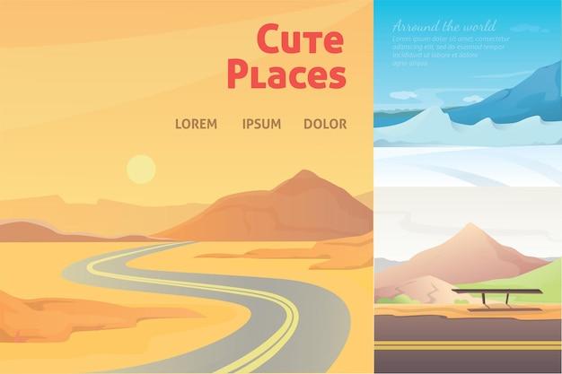 Definir paisagens de bonito dos desenhos animados com a montanha. coleção da natureza.