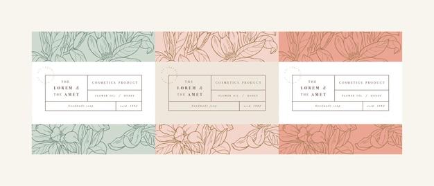 Definir pattens para cosméticos com design de modelo de etiqueta