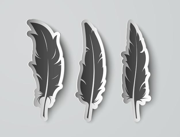 Definir penas de papel isoladas com sombras Vetor Premium