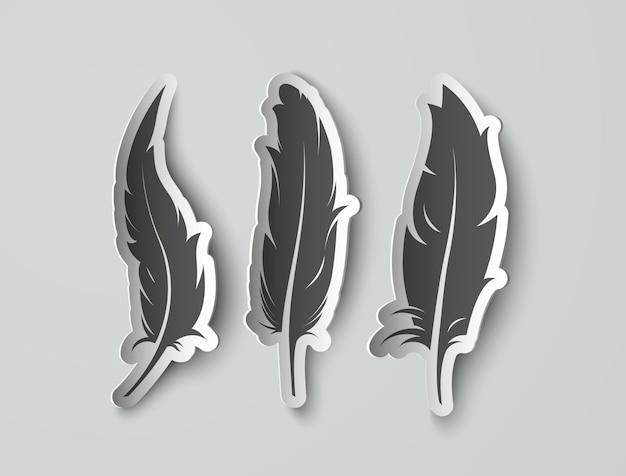 Definir penas de papel isoladas com sombras